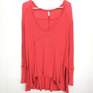 Free People Waffle Thermal Long Sleeve Coral Tunic